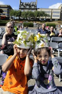 Social In The Gardens - Scotland'sChildren's activities, wearing leaf crowns, at Scotland's Festival of Social Enterprise